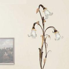 Stehleuchte Florentiner Stil, dunkelbraun / Gold, Dekorglas