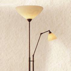 Stehleuchte mit Lesearm im Landhaus Stil - Dunkelbraun - Scavo-Glas antik