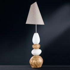 Stehleuchte Stone mit Keramik natur/braun, Schirm grau meliert verstellbar