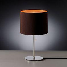 Tecnolumen, Tischleuchte chrom, Schirm braun/orange