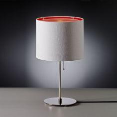 Tecnolumen, Tischleuchte chrom, Schirm weiß/rot