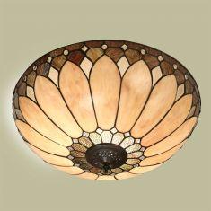Tiffany Deckenleuchte - Messing-antik - Lampenschirm in Braun-Beige-Tönen