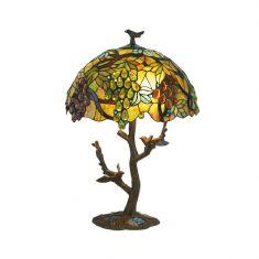 Tiffany Hockerleuchte mit ovalem Schirm, Höhe 64cm