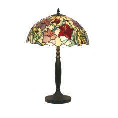 Tiffany Hockerleuchte,  farbenreiche Glaskunst, Höhe 62cm