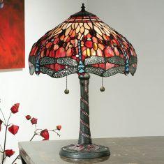 Tiffany Tischleuchte Red Dragonfly - Groß