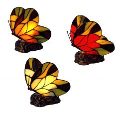 Tiffany-Dekoleuchte Schmetterling, 3 Farben