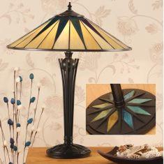 Tiffany-Tischleuchte, dunkelbraun, Tiffanyglas, Höhe 56 cm