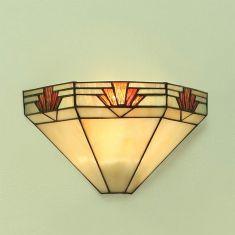 Tiffany-Wandleuchte - Dunkelbraun -  Tiffanyglas in warmen Farben