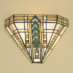 Tiffany-Wandleuchte - Tiffanyglas in harmonischer Farbkombination