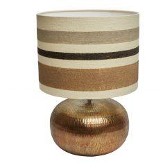 Tischlampe mit Sandmotiv Globetrotter  Metallfuß  in Gold-Optik
