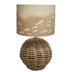 Tischlampe mit Sandmotiv Munterer Fischschwarm rund
