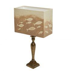 Tischlampe mit Sandmotiv Munterer Fischschwarm rechteckig