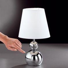 Tischleuchte 32cm hoch in chrom mit 3-Stufen Touchdimmer mit weißem Stoffschirm 1x 30 Watt, silber/weiß