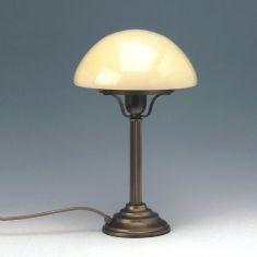 Tischleuchte Altmessing, Glas bernstein in Pilzform
