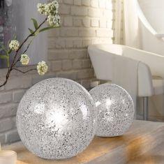 Tischleuchte aus Glas im Craquele Design, in Weiß - 2 Größen
