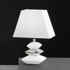Tischleuchte aus Keramik in Stein-Optik, Keramik Weiß/Chrom-Schirm Weiß 1x 30 Watt, weiß