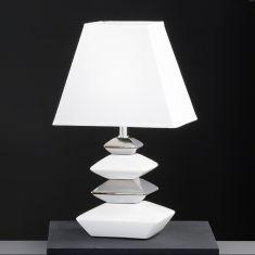 Tischleuchte aus Keramik in Weiß/Chrom-Schirm Weiß