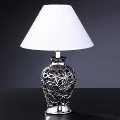 Tischleuchte aus Keramik, filigrane Keramikarbeit in Silber