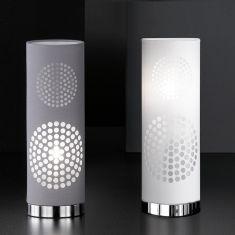 Tischleuchte aus Kunststoff mit trendigem Ausbrenner-Dekor, textile Beschichtung in Weiß oder Grau lieferbar