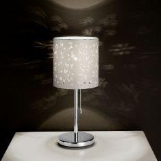 Tischleuchte aus verchromtem Stahl mit textilem Schrim - Blume