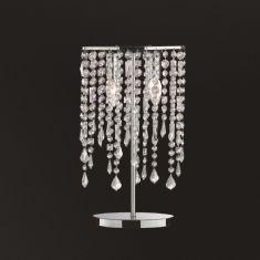 Tischleuchte in Chrom mit geschliffenem Kristallbehang