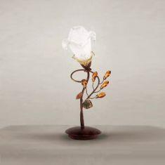 Tischleuchte im Florentiner Stil - Braun, Amberfarbige Kristalle - 1-flg