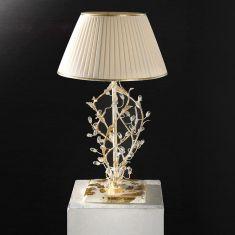 Tischleuchte im Florentiner Stil - Handgemacht in Italien - Blattgold/Weiß - Stoffschirm - Bleikristallrispen
