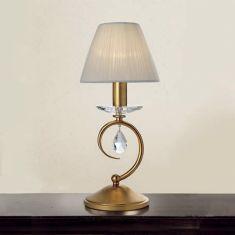 Tischleuchte im Florentniner Stil - Made in Italy - Silber oder Gold Antik - 1-flammig - Mit Stofflampenschirm