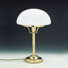 Tischleuchte Glasschirm Pilzform - Messing-poliert