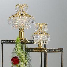 Tischleuchte 24 Karat vergoldet mit Kristallbehang, 2 Größen