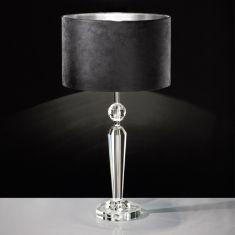 Tischleuchte Kristallfuß, Schirm in Schwarz / Silber Ø 35cm