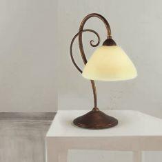 Tischleuchte Landhaus-Stil - Antik-Braun mit cremefarbigem Glas