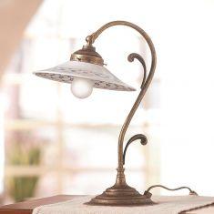 Tischleuchte im Landhausstil - Keramik-Lampenschirme - Messingfarbig