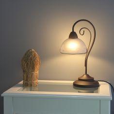 Tischleuchte im Landhausstil, rostfarbend mit weißem Alabasterglas
