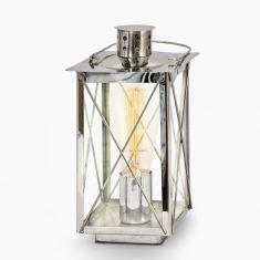 Tischleuchte in Laternenform - Stahl - Chrom - Klares Glas