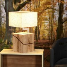 Tischleuchte massivem Eichenholz und Stoffschirm - 2 Farben