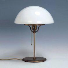 Tischleuchte Messing-brüniert mit Zugschalter, Opalglas