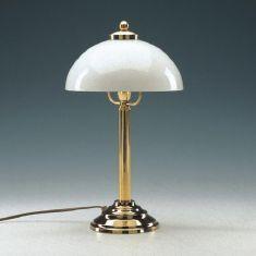 Tischleuchte in Messing-poliert mit weißem Opalglas