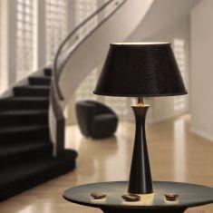Tischleuchte mit Holzfuß in Schwarz und Braunem Lampenschirm