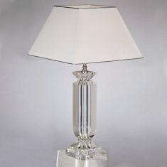 Tischleuchte mit Kristallglas, vergoldet oder verchromt