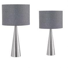 Tischleuchte mit Stofflampenschirm in Grau - Höhe 35 cm Durchmesser 20 cm 35,00 cm, 20,00 cm