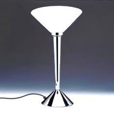 Tischleuchte mit weiß-mattem Glas - Oberfläche in chrom