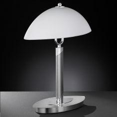 Tischleuchte Nickel-matt mit Opalglas, mit Schnurschalter