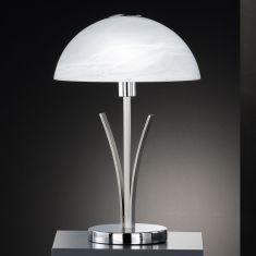 Tischleuchte in Nickel-matt / Chrom mit Alabasterglas, Höhe 40cm - inklusive Leuchtmittel 1x E14 25W