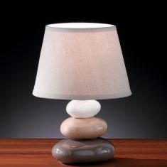 Tischleuchte Pibe Höhe 24cm mit Steinen aus Keramik, in braun-creme