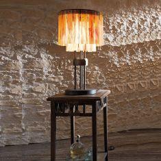 Tischleuchte Schmiedekunst, Glasfarbe wählbar