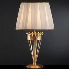 Tischleuchte Stofflampenschirm mit goldener Bordüre