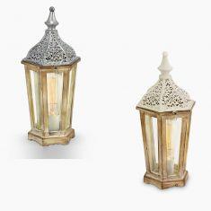 Tischleuchte im Vintage Stil - Holz und Metall in Silber-Antik  oder Weiß-Patina - Klares Glas - Für Leuchtmittel E27