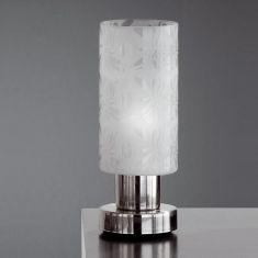 Tischleuchte, Glas weiß mit zarter Dekor Ornamentik