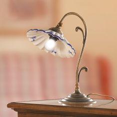 Tischleuchte, Keramikschirm in Weiß/blau und Blumendekor